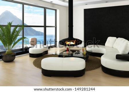 Loft interior with huge windows, fireplace and landscape view - stock photo