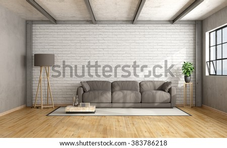 Loft interior with white brick wall and brown sofa - 3D Rendering - stock photo