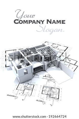 Loft mock-up and blueprints - stock photo