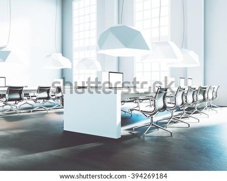 Loft office beautiful light interior. 3d render - stock photo