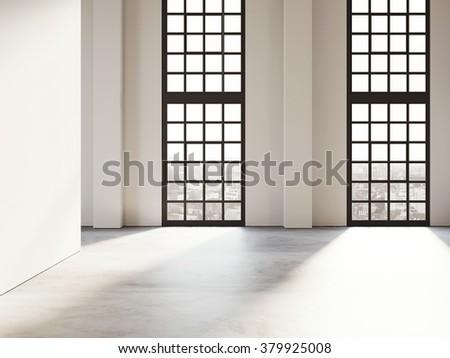 Loft open space with big windows. 3d render - stock photo