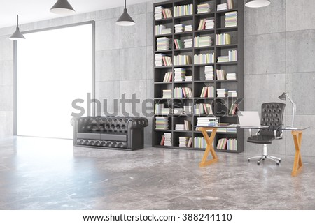 Loft room with chesterfield sofa, bookshelf, glassy table, big window and concrete floor, 3D Render - stock photo