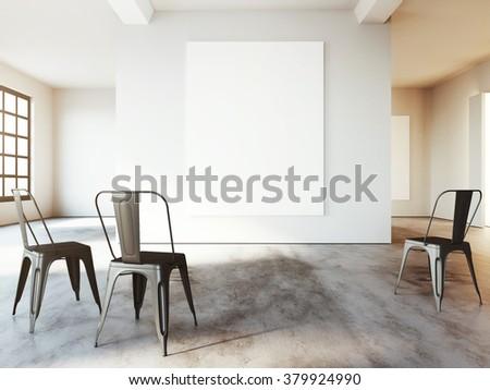 Loft space presentation room. Mockup of empty poster. 3d render - stock photo