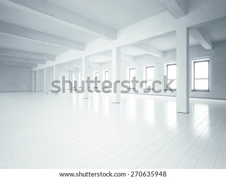 Loft space with white concrete walls. 3D rendering - stock photo