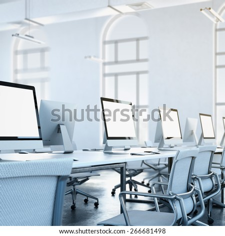 Loft studio. 3d rendering - stock photo