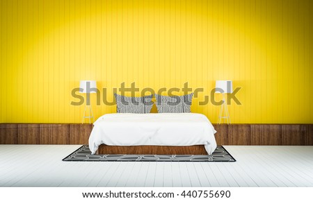 Loft Style Bedroom Yellow Color Wall Stock Illustration 440755690 ...