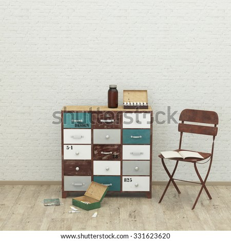 loft style modern interior background with chair, paint, brush, brick wall , 3D render - stock photo