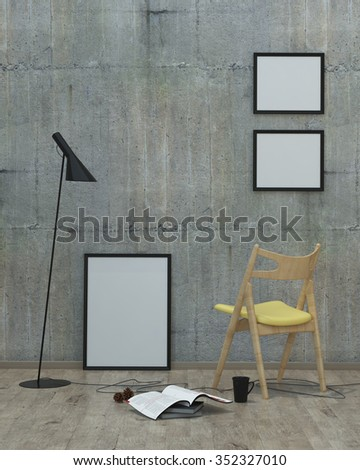loft  style modern interior background with frames, concrete wall, yellow chair , 3D render - stock photo