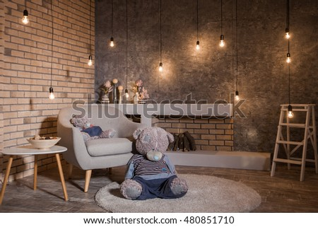 Loft Style Room Burning Bulbs Garland Stock Photo 480851710 ...