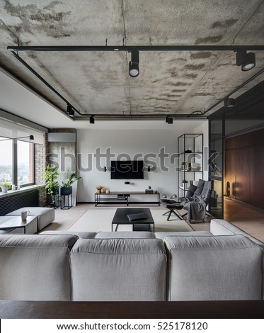 Loft Style Sittingroom White Brick Concrete Stock Photo