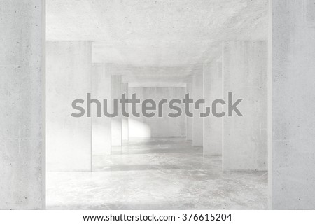 Loft style tunnel with many walls in light empty building 3D Render - stock photo