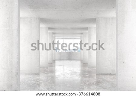 Loft style tunnel with many walls in light empty building with big window and city view 3D Render - stock photo