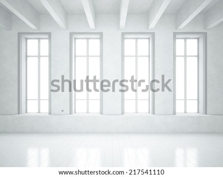 Loft with big windows - stock photo