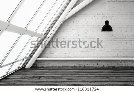 loft with ceiling lamp and window - stock photo