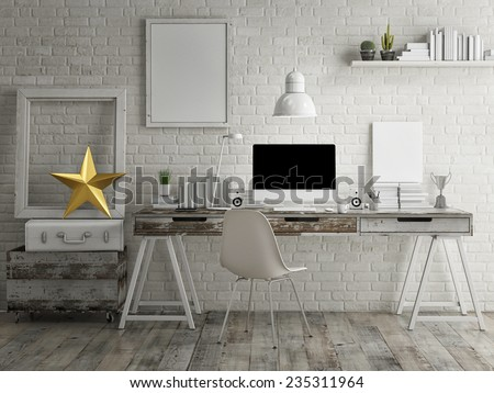 Loft workspace background - stock photo