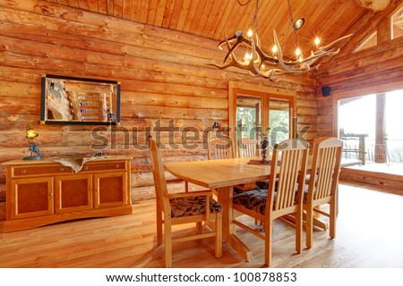 Log Cabin Dining Room Interior With Custom Furniture. Part 33