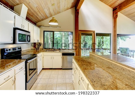 Log cabin house interior. View of white kitchen room with steel appliances