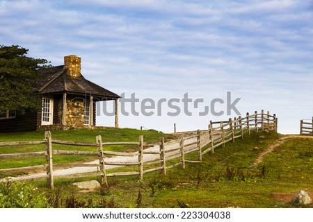 Log cabin on the Ranch. Deep Hollow Ranch, Montauk, Long Island, New York. - stock photo