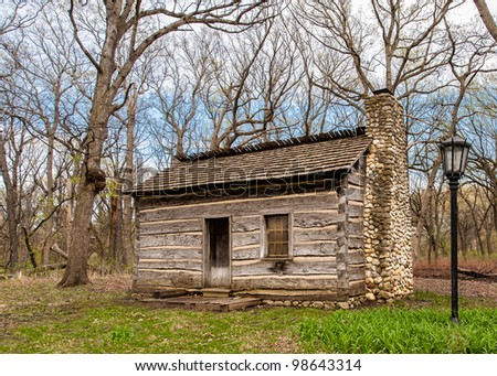 Log cabin the woods - stock photo