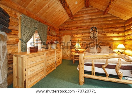 Log Cabin with large furniture and rustic feel.