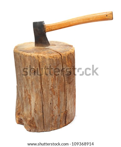 Log fire wood and old axe. Renewable resource of a energy. Environmental concept. - stock photo