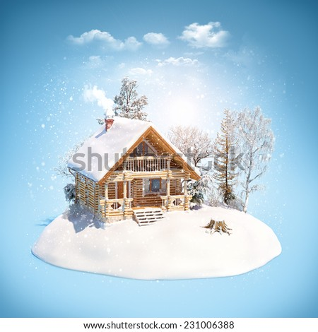 Log house and trees on snowdrift. Unusual winter theme illustration