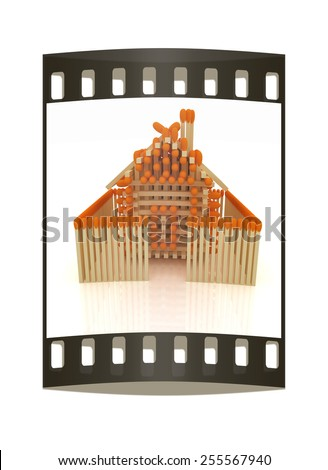 Log house from matches pattern on white. The film strip