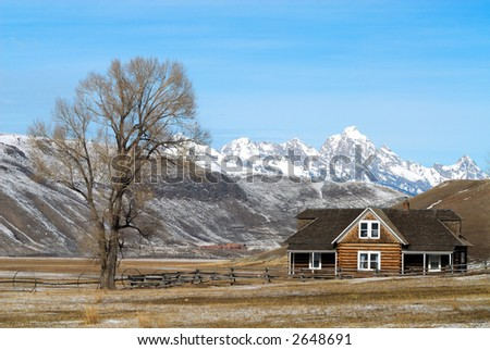 Log House on Elk Refuge - stock photo