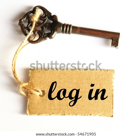 log in internet concept with key and label - stock photo