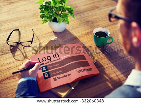 Log in Password Identity Internet Online Privacy Protection Concept - stock photo