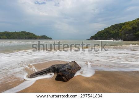log on beach - stock photo