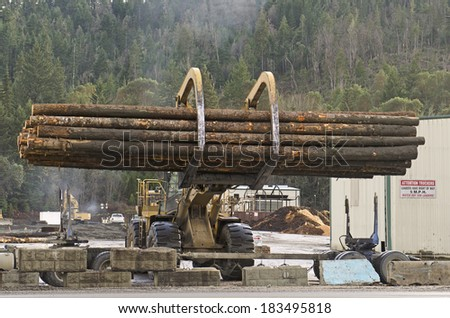 Log truck waiting to be off loaded at a saw mill in Oregon - stock photo