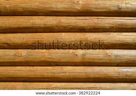 Log wall, close-up. Background - stock photo
