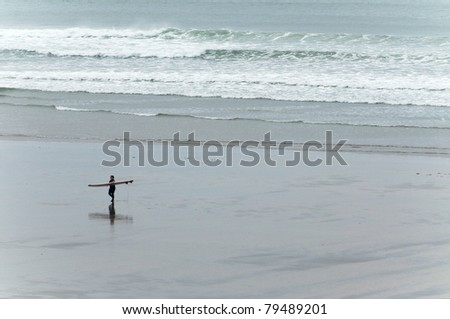 Logboard surfers at Dinbgle, West Ireland - stock photo
