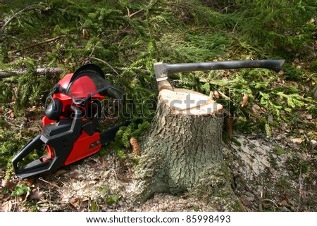 Logger equipment in forest
