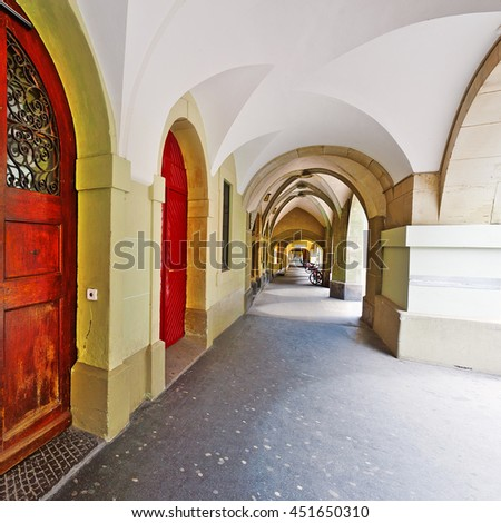 Loggia in the Swiss City of Berne - stock photo