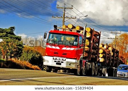 Logging truck - stock photo
