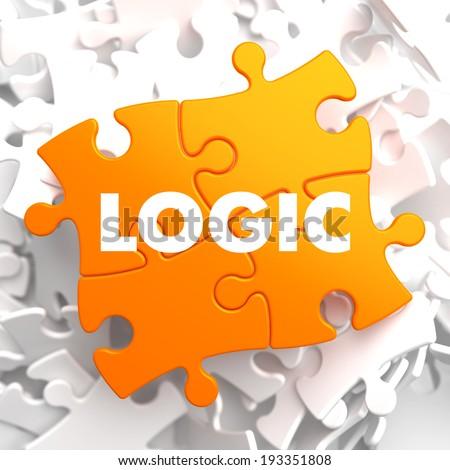 Logic on Orange Puzzle on White Background. - stock photo