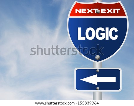 Logic road sign - stock photo