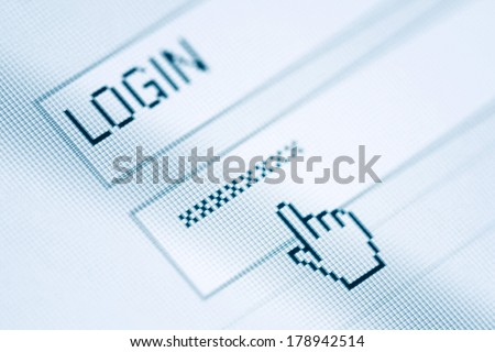 Login and password in internet browser on computer screen