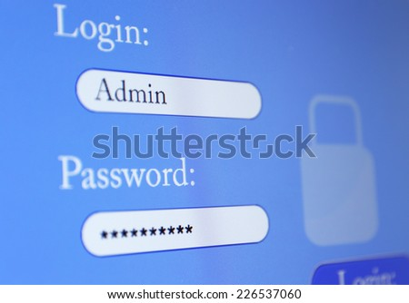 Login and password on monitor screen - stock photo