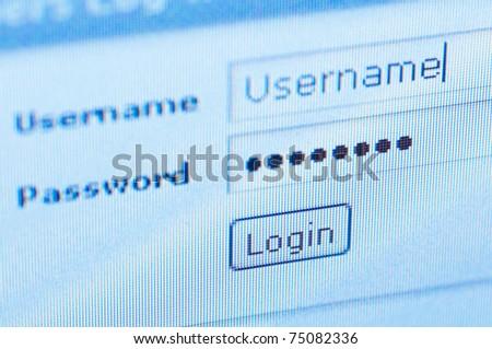 login. Blue computer screen macro - stock photo