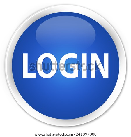 Login blue glossy round button - stock photo