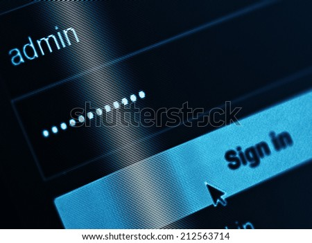 Login Box - Username Admin and Password in Internet Browser on Computer Screen  - stock photo