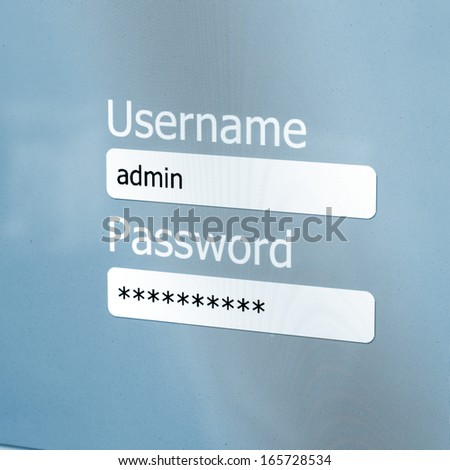 Login Box - Username and Password in Internet Browser on Computer Screen - stock photo