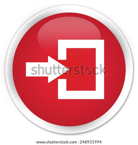 Login icon red glossy round button - stock photo