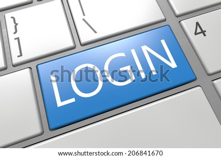 Login - keyboard 3d render illustration with word on blue key