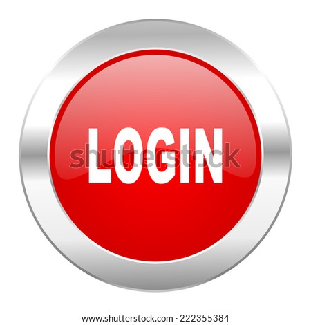 login red circle chrome web icon isolated  - stock photo