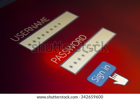 login user password  Computer Screen - stock photo