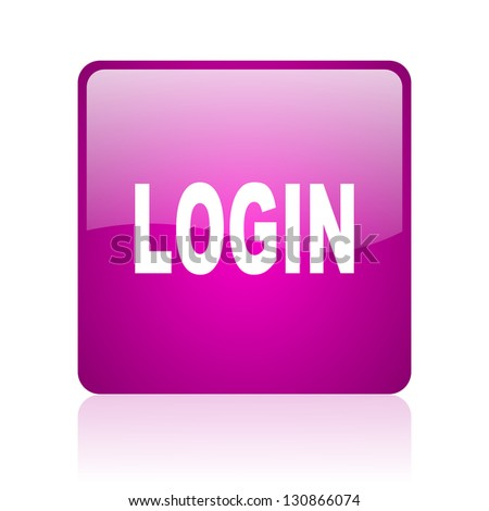 login violet square web glossy icon - stock photo